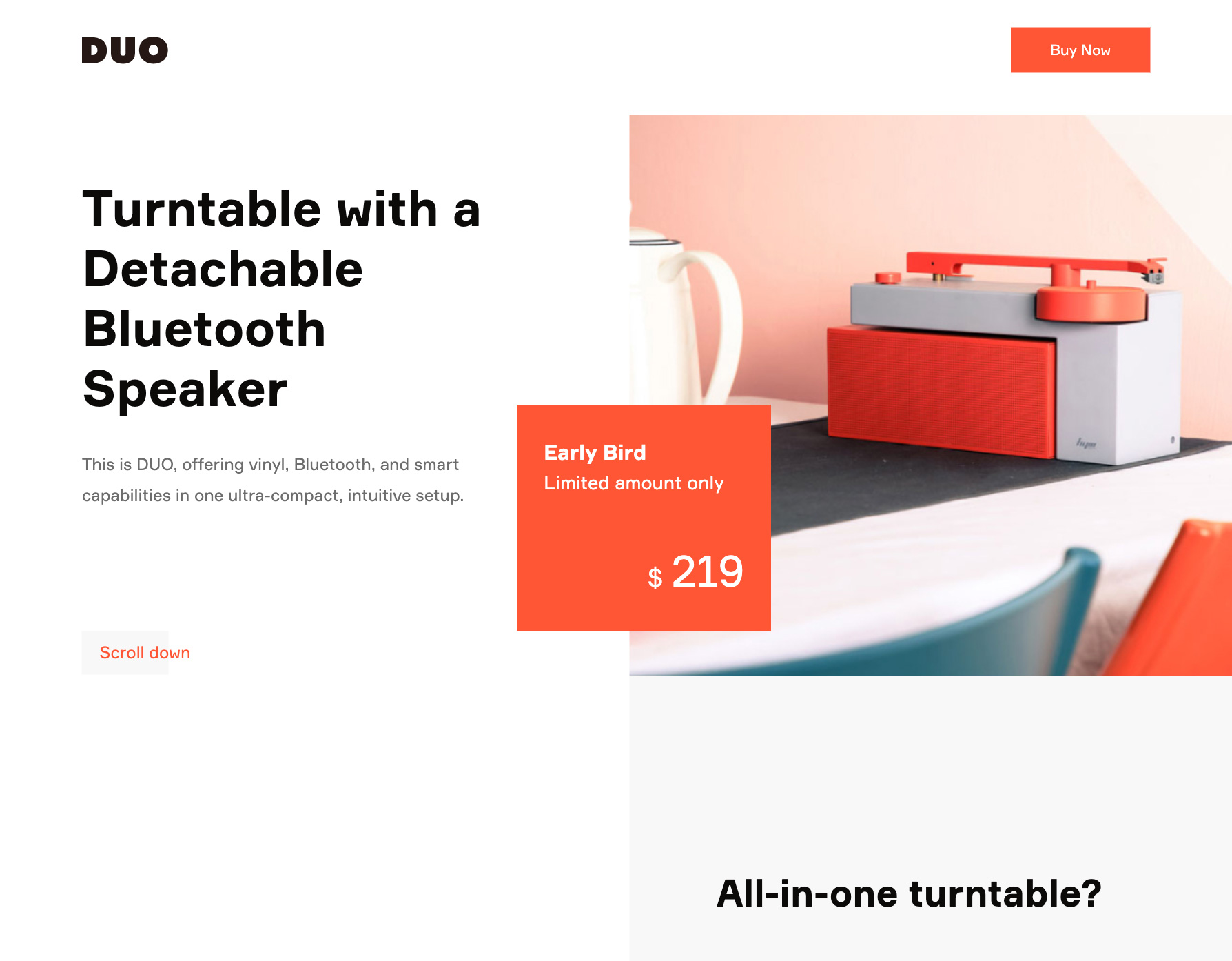 DUO Tutntable - screenshot of the landing page