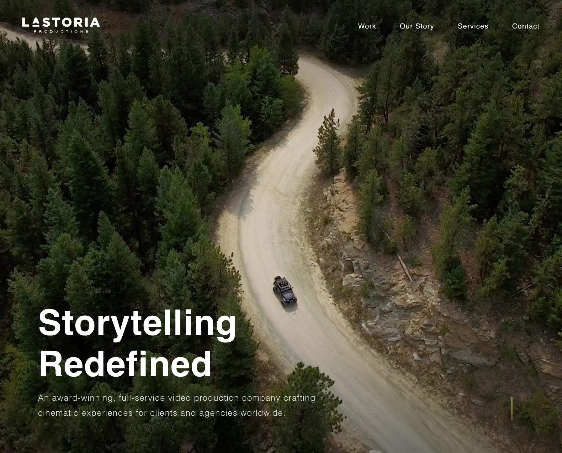 Screenshot of Lastoria Productions Website Homepage from https://lastoriaproductions.com/