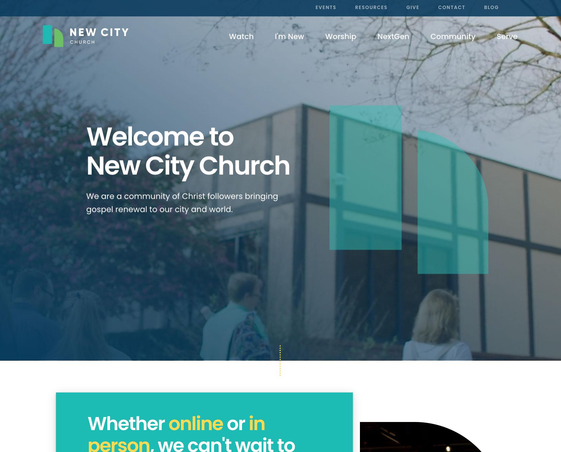 Screenshot of New City Church Website Homepage from https://newcity.us/